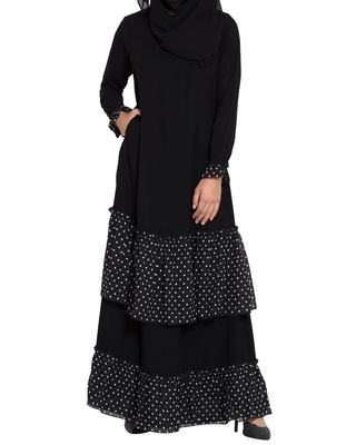 Black Dress with Contrast Polka Layers-Not An Abaya