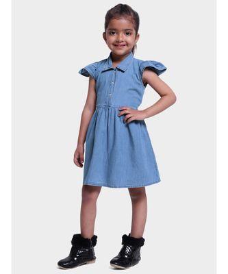 Ruffle Sleeve Denim Dress For Baby Girl- Blue