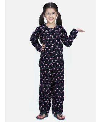 Girls Full Sleeve Printed Night Suit-Navy Blue