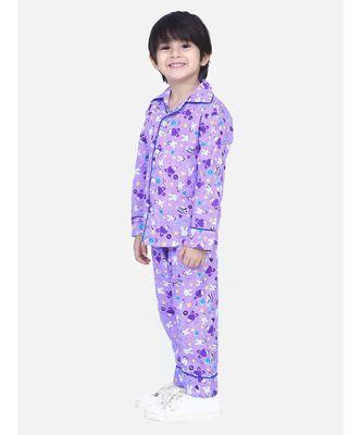 Boys Full Sleeve Printed Night Suit- Purple
