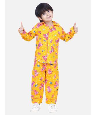 Boys Full Sleeve Printed Night Suit- Yellow