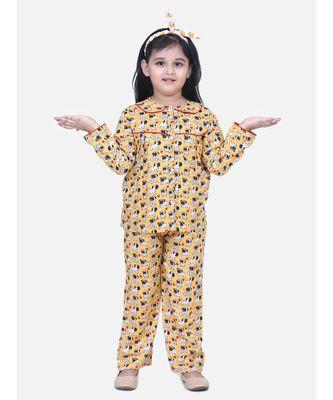 Girls Full Sleeve Printed Night Suit- Orange