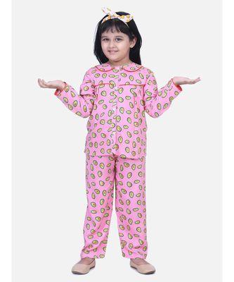 Girls Full Sleeve Printed Night Suit- Pink