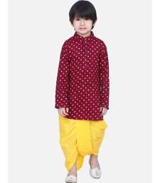 Boys Bandhani Full Sleeve Kurta Dhoti- Maroon