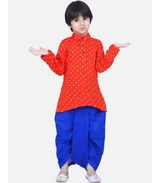 Boys Bandhani Full Sleeve Kurta Dhoti- Orange
