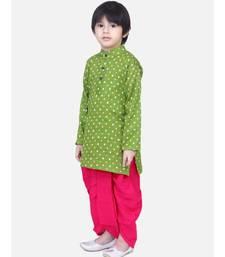 Boys Bandhani Full Sleeve Kurta Dhoti- Green