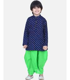 Boys Bandhani Full Sleeve Kurta Dhoti- Blue