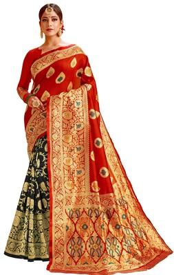 New Stylish Red & Black Color Banarasi Half & Half Cotton Silk Saree