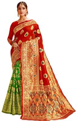 New Stylish Red & Green Color Banarasi Half & Half Cotton Silk Saree