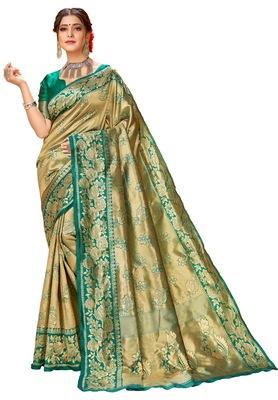 New Stylish Green Color Silk Party Wear Banarasi Saree