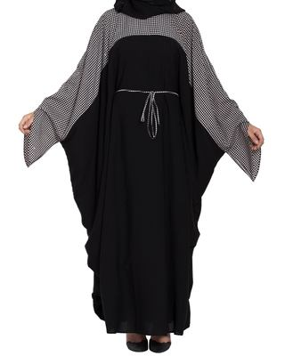 Dual Color Kaftan With Designer Sleeves & Belt-Not An Abaya