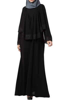 Modest Dress With Extra Layer and Lace work