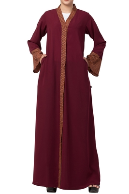 Front Open Abaya Dress With Contrast Panel and Sleeves