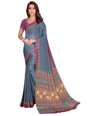 Sangam Prints Grey Silk Crepe Printed Traditional Saree