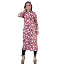 Peach printed rayon kurtas-and-kurtis