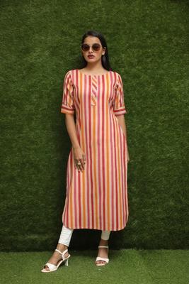 Women Orange Long Kurti