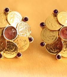 Beautiful Purple Coin Earrings