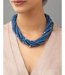 Blue necklace with Swarovski agate beads.