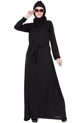 BEAUTIFULL NIDA ABAYA DRESS WITH BELT ABAYA - DARK BROWN