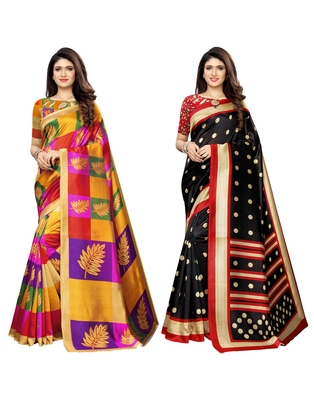 Multicolor printed poly silk saree with blouse