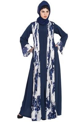 Floral Print-Front Open Designer Dress Abaya-Blue-White