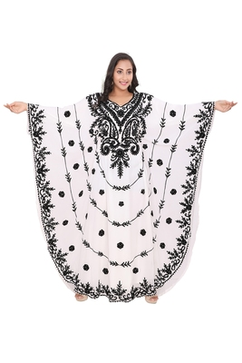 White georgette moroccan islamic dubai kaftan farasha Aari and stone work