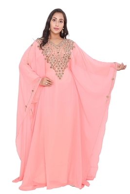 new peach georgette moroccan islamic dubai kaftan farasha zari and stone work dress