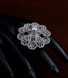 Rhodium Plated Designer American Diamond Finger Ring FR18