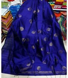 Blue Zari Wark Cotton Silk Ball Handloom Saree With B.P