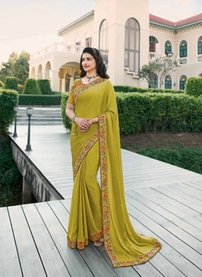 Light yellow embroidered silk saree with blouse