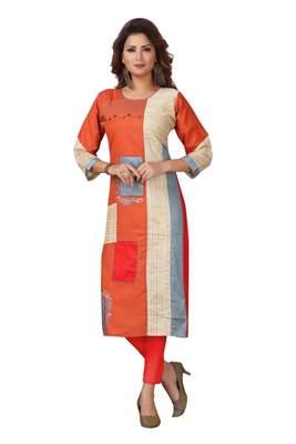 Ladies Cotton Designer Patch Work Orange Kurti