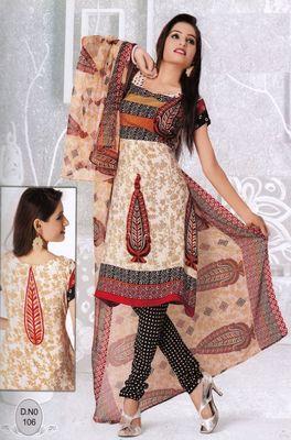 Dress Material Elegant French Crepe Printed Unstitched Salwar Kameez Suit D.No N106