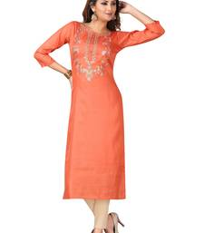 MAJESTIN Ladies Dola Silk Orange Kurti