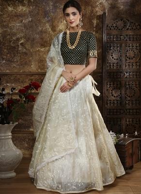 Off White Satin Bridal Lehengas
