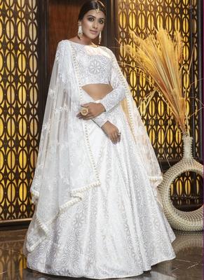White Cotton Bridal Lehengas