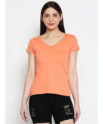 AMMARZO WOMENS BASIC V NECK DARK PEACH   TEE