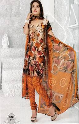 Dress Material Elegant French Crepe Printed Unstitched Salwar Kameez Suit D.No N107