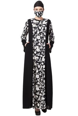 Musheco-Printed Dress With Black Panels-Not An Abaya