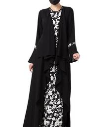 Musheco-Falling Shrug Dress In Black & White-Not An Abaya