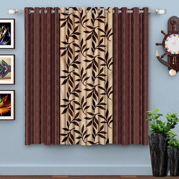 Brown Printed polyester Window Curtain