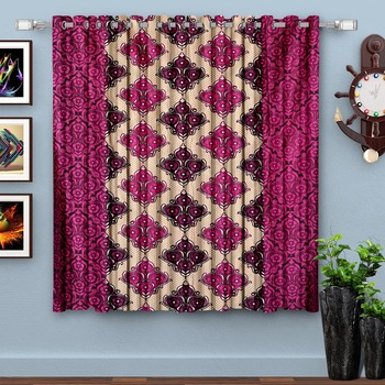 Wine Printed polyester Window Curtain