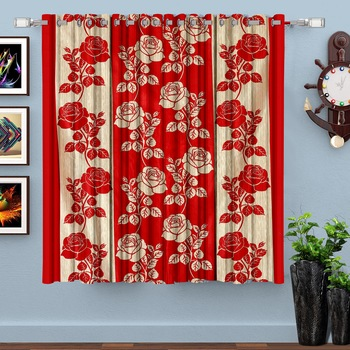 Red Printed polyester Window Curtain