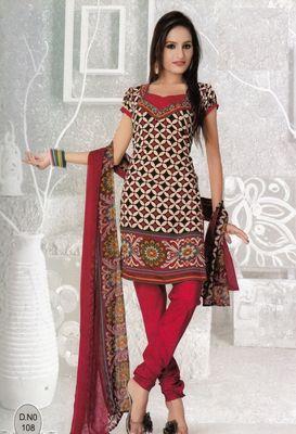 Dress Material Elegant French Crepe Printed Unstitched Salwar Kameez Suit D.No N108