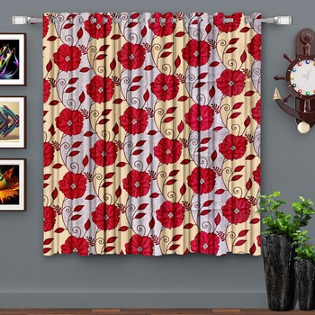 A Red Printed  Polyester Window Curtain