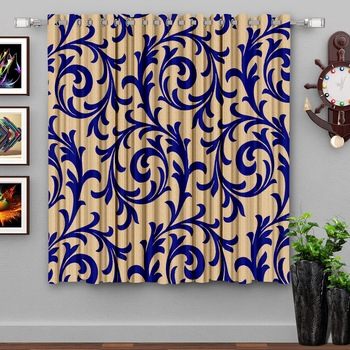 A Blue Printed  Polyester Window Curtain