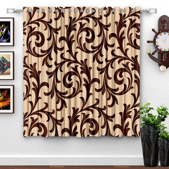 A Brown Printed  Polyester Window Curtain