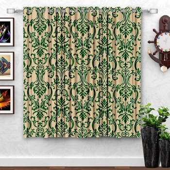 Green Printed polyester Window Curtain