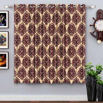 A dark Maroon Printed  Polyester Window Curtain
