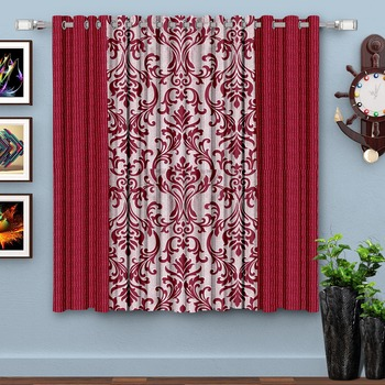 A Blood Red Printed  Polyester Window Curtain