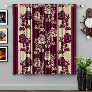 A Purple Printed  Polyester Window Curtain